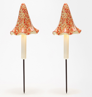 Barbara King Set of 2 Illuminated Mushroom Garden Stakes from Valley Forge Flowers in Wayne, PA