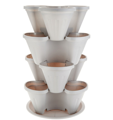 Barbara King 4-piece Stackable Planter Tower - GREY from Valley Forge Flowers in Wayne, PA