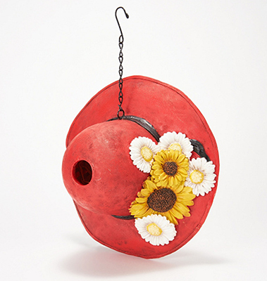 Barbara King Decorative Hat Birdhouse with Chain - RED from Valley Forge Flowers in Wayne, PA