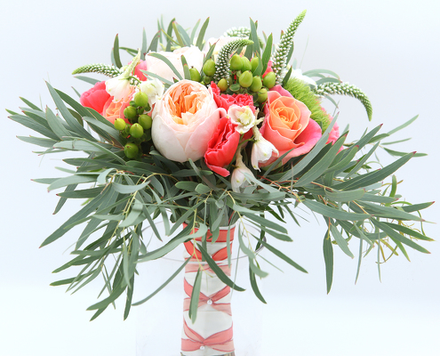 Feather Willow Eucalyptus Bride Bouquet From Valley Forge Flowers In Wayne PA Click Here For Larger Image